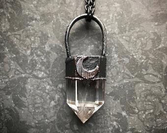 Quartz Cluster Necklace | Quartz Point Necklace | Crescent Moon Necklace