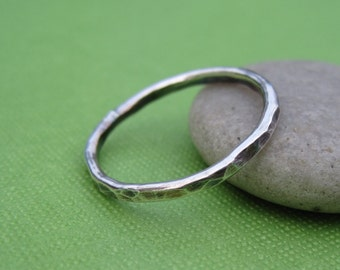 Simple Hammered Sterling Silver Stacking Ring