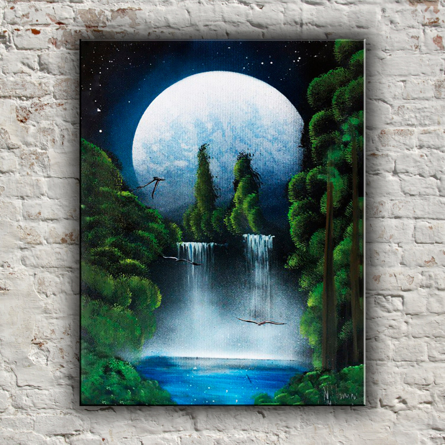 Moon landscape painting flying bird waterfall painting acrylic for Custom acrylic paint