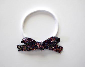 PARTY Glitter Bow Headband OSFA nylon elastic headband Adorable for Newborn Baby Little Girl Child Adult Blue Holiday Christmas Headwrap