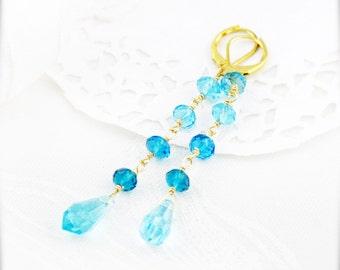 Lagoon long earrings - glass crystal