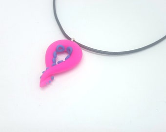Pink and Blue Tentacle Pendant, Necklace, Choker