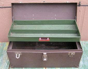 Vintage 50s Kennedy Metal Tool Box Industrial Metal Cabinet Industrial Storage Kennedy Kit Made in USA