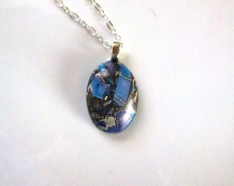 Jasper blue/purple/bronze oval cabochon pendant on chain link necklace in silver metal