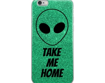Green Glitter Alien iPhone Case, iPhone 6/6s, iPhone 6/6s plus, iPhone 7/8, iPhone 7/8 plus, iPhone x, Green Phone Case