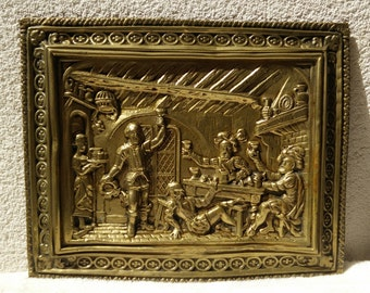 Vintage Brass wall decor Plaque of guards drinking celebration, art deco brass embossed plaque with soldiers celebrating, 1940s brass  art