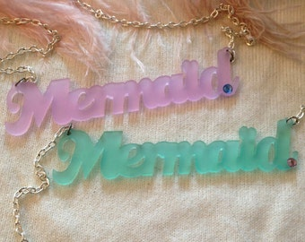 Frosted Acrylic Mermaid Necklace in Lilac or Seafoam