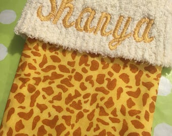 Sweet Baby Giraffe Print and Chenille Handmade Christmas Stocking with FREE US & Canada SHIPPING