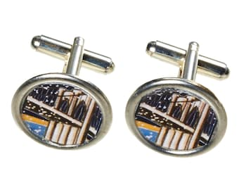 Brooklyn Bridge Cufflinks. Handmade in Brooklyn. Crystal Glass Domes.