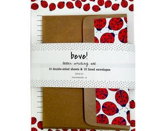 Ladybug Letter Writing Set - Summertime Stationery Set