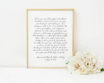PAIR of Custom Calligraphy Wedding Vows //bespoke wedding vows // hand lettered wedding vows // hand written vows // personalized vows