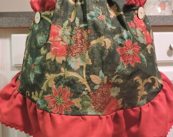 SALE Holiday Half Apron w/ Ruffle and Pockets