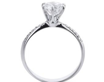 3.5 Carat Round Cut, Diamond Engagement Ring, 14K White Gold Ring, Pave Diamond Ring, Big Diamond, Pave Ring, Engagement Band,Unique Diamond