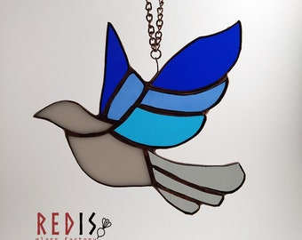 Stained glass blue jay bird on chain