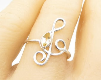 925 sterling silver - faceted citrine g clef musical note ring sz 7.5 - r1200