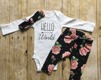 Newborn coming home outfit, hello world infant bodysuit outfit, baby shower gift