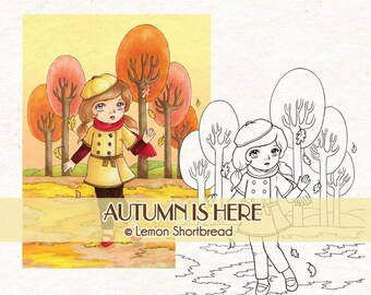 Digital Stamp Autumn is Here Girl, Digi Download, Fall Leaves, Coloring Page, Tree Park Nature, Scrapbooking Supplies, Clip Art