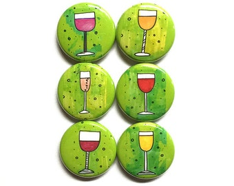 Wine Magnets or Pinback Buttons - Wine Lover Gift, Red Wine Glass, Food, Kitchen, Fridge Magnet or Pin Set