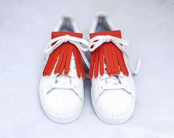 Orange leather fringe for sneakers