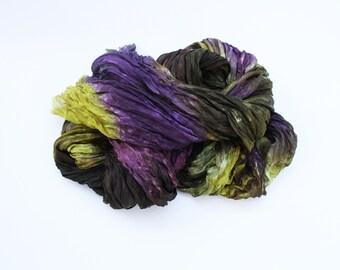 silk scarf - Acai Carafe  -  acai, purple, mustard, olive green, brown silk scarf.