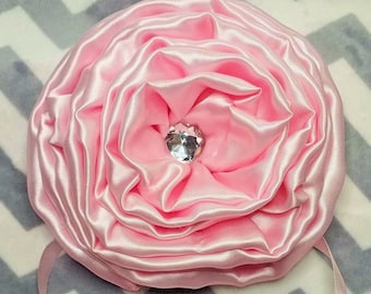 "3 Beautiful Large Handmade Satin Roses 6"" Wide with Bling and Ribbon tie sash crib Toddler Bed decorations"