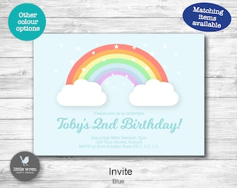 Rainbow invitation, Pastel Rainbow Party, Rainbow Decorations, favor tags, goodie bag tags, water bottle labels, hersheys, chocolate wrapper