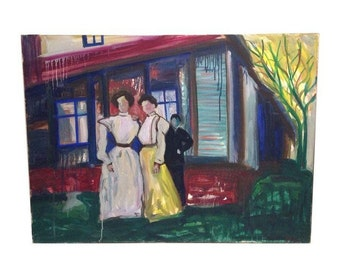 Vintage Eclectic Oil Painting by Maria Nay