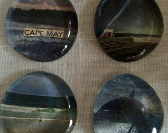 Set of 4 Cape May, New Jersey Art Glass Magnets - kitchen home office bar travel souvenir gift stocking stuffer