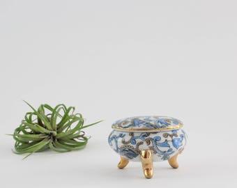 Vintage Porcelain Footed Ring Box with Gold Gilt Details