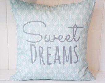 Sweet Dreams Pillow Cover, 20x20, light blue arrows