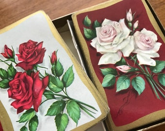 Vintage PLAYING CARDS gorgeous roses Midcentury 1960s double deck