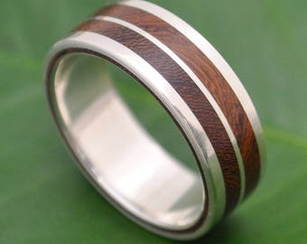 Lados-Linea Nacascolo Wood Ring - ecofriendly recycled sterling silver and wood wedding ring, wood wedding band, mens wood ring, womens ring
