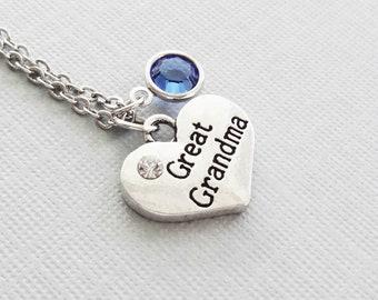 Great Grandma Necklace, Great Grandmother Heart, Mothers Day Gift, Birthday Gift, Mom Jewelry, Swarovski Channel Birthstone, Silver Jewelry