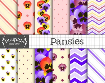 Floral Digital Paper, Flower Digital Scrapbook Paper, Pansies, Pansy, Purple Paper, Spring Background, Instant Download, Commercial Use