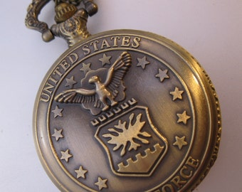 Vintage Military Air Force Pocket Watch & Chain Necklace Costume Jewelry Jewellery
