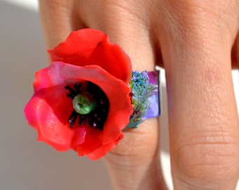 RED POPPY STATEMENT Adjustable Ring - Poppies Jewelry - One of a Kind Unique Original, large Red Poppy with leaf Jewelry