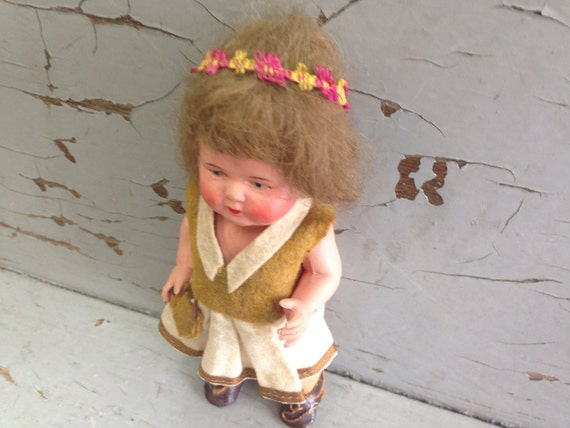 Antique German Doll - Schildkröte Celluloid Doll - Antique Doll Collectors - Traditional Doll Costume - European Doll with Native Costume