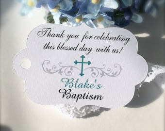 Baby baptism favor tags, christening favor tags, first communion tags, confirmation favor tags, religious tags, cross tags - 30 count(rt4)