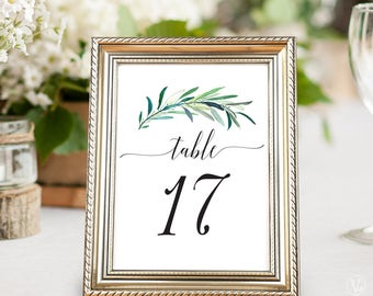 Printable Wedding Table Numbers 1–40, Wedding Table Numbers, INSTANT DOWNLOAD, 5x7 and 4x6 sizes, Eucalyptus Greenery