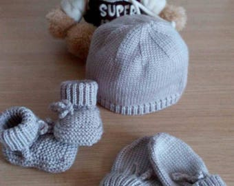 Bonnet mittens and booties baby 0/3 months