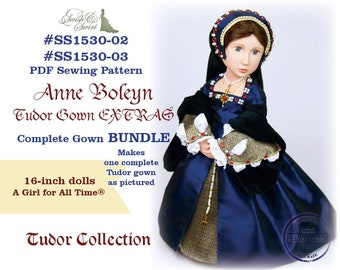 PDF Pattern Bundle #SS1530-02 & #SS1530-03. Anne Boleyn Tudor Gown EXTRAS Complete Gown for A Girl for All Time dolls.