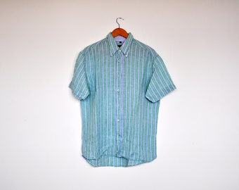 Vintage Blue and Green Striped Linen Short Sleeve Button Down Oxford Shirt