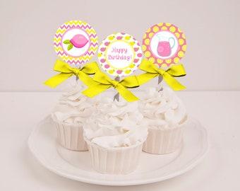 Printable Pink Lemonade Cupcake Toppers - Instant Download