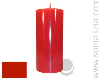 3 x 6.5 Red Classic Hand-poured Unscented Pillar Candles Solid Color