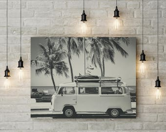 Retro Van Print, Beach Print, Coastal Prints, Tropical Prints, Old Car Photo, Children Room Decor, Retro Poster, Travel Poster, Seaside Art