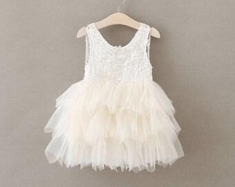 Flower girl dress, Ivory flower girl dress, lace flower girl dress, tulle dress,  Boho flower girl dress , Party dress, Tea party dress