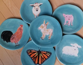 Pink pig plate animal lover plate donkey plate farm animal sheep lamb goat cow rooster ladybug monarch butterfly colorful dishes pig face