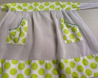 Lime Green Polka Dot and Sheer White Vintage Half Apron