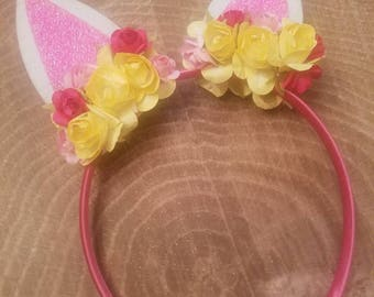 Easter bunny ears headband.  Miniature bunny ears. Easter floral headband. Easter props. Easter dress. Sample price