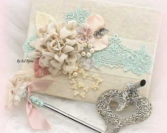 Wedding Guest Book and Pen Set Shabby Chic Mint Green Blush with Linen Lace and Pearls